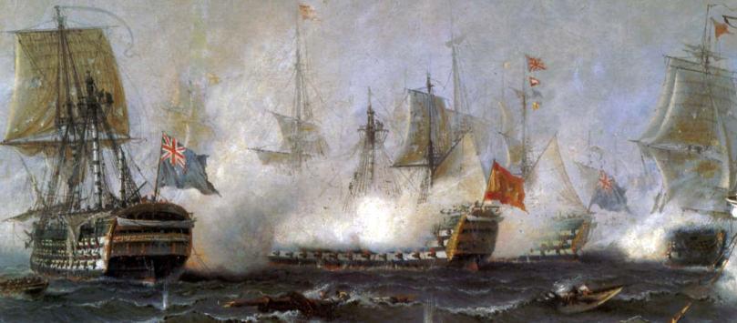 Combate del Santa Ana y el Royal Sovering en Trafalgar. Angel Cortellini