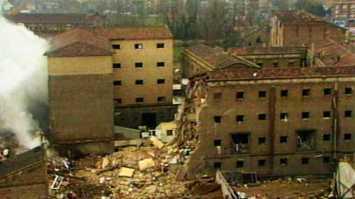 Así quedó la casa cuartel de Zaragoza tras el atentado de 1987.