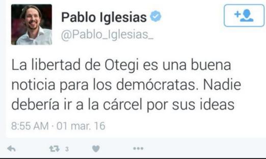 Twitter Pablo Iglesias celebrando libertad Otegi