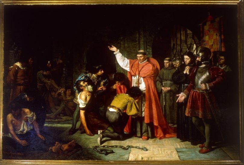 El cardenal Jiménez de Cisneros libertando a los cautivos de Orán - Frnacisco Jover y Casanova - 1869