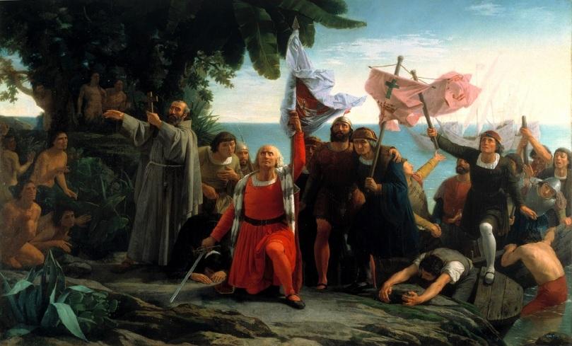 Primer desembarco de Colón en el Nuevo Mundo, el 12 de octubre de 1492 - Dióscoro Teófilo de la Puebla Tolín - 1862