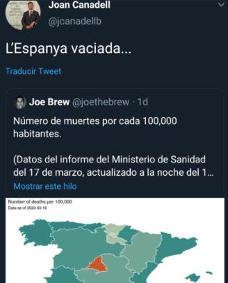 Twitter Canadell coronavirus Espanya