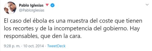 Twitter Pablo Iglesias ébola