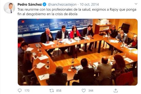 Twitter Pedro Sánchez ébola