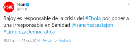 Twitter PSOE ébola